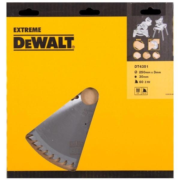 Lame scie stationnaire DT4351 Ø250 DEWALT pour tous usages - alésage 30 - 60 dents positif - DT4351