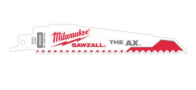 Lame scie sabre AX 150 mm 5 dents MILWAUKEE - 5 pièces - 48005021