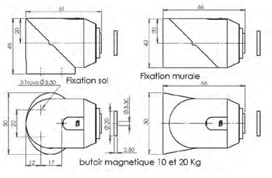 Butoir de porte magnétique universel 161330 MONIN - Gris - Force 20Kg - 161330