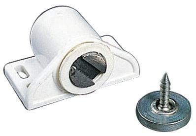 Loqueteau magnétique MS4 ARELEC - Blanc - Force 4 Kg - Fixation par 2 vis - Ø3 mm - MS4BLANC