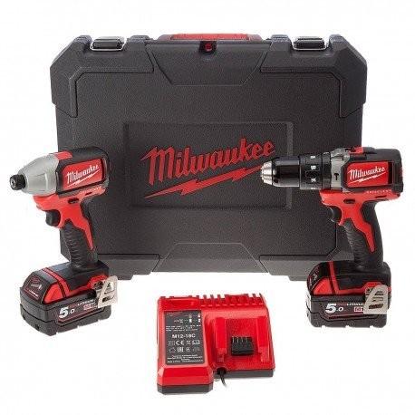 Lot 2 machines MILWAUKEE M18BLPP2B-502C - Perceuse à percussion BLPD + Visseuse à chocs BLID - 4933448451