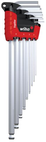 Jeu de 9 cles males chromées 6 pans tête sphérique magicring ergostrat - WIHA - 37352