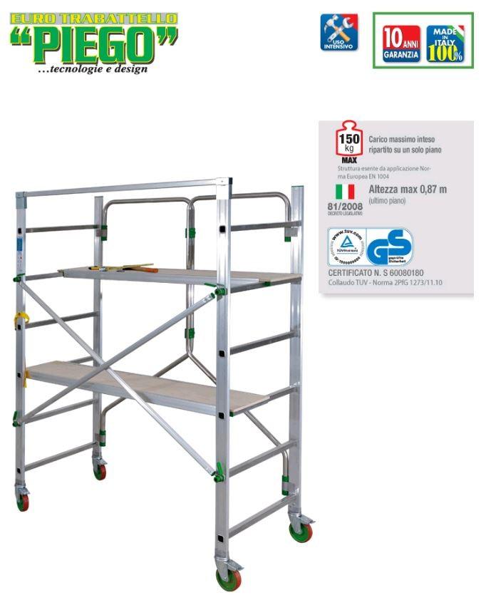 Échafaudage complet alu FACAL hauteur de travail 2.80m 2 tables + sacoche - PIEGO