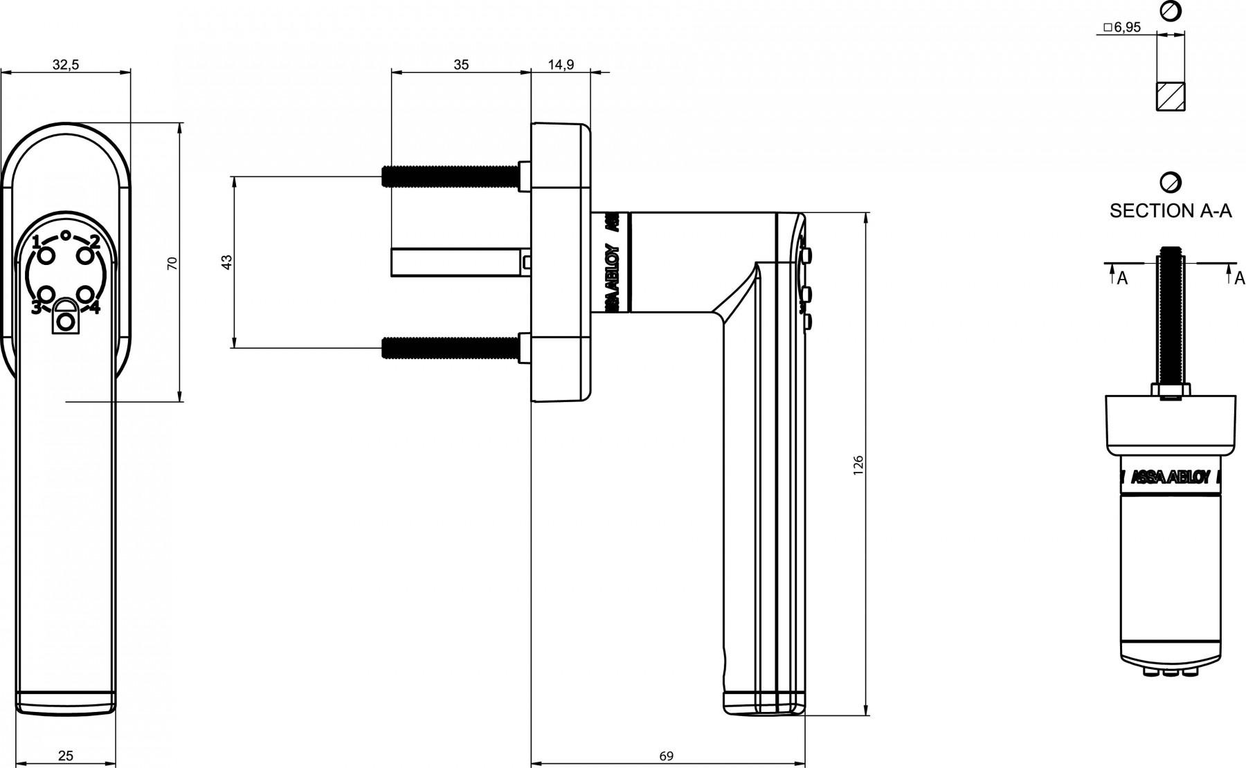 0820055 Ens a code handle sur rosace chromé gamme velours 4320 gauche