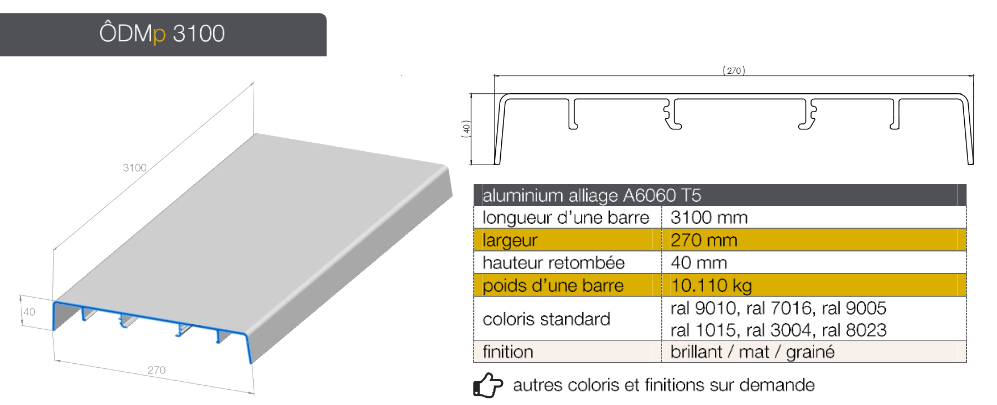 Profil ôdemur Plat En Aluminium Brut Habillage De Haut