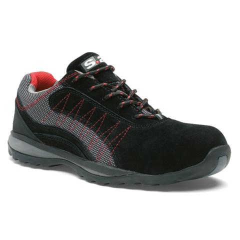 Chaussure basse ZEPHIR S1P - S 24 BOSSI - Cuir croûte velours noir / toile grise - 5122