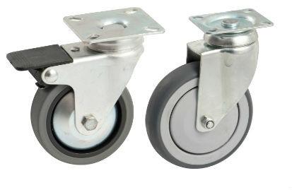 Roulette pivotante AVL - platine carré - roue caoutchouc - QPE06092