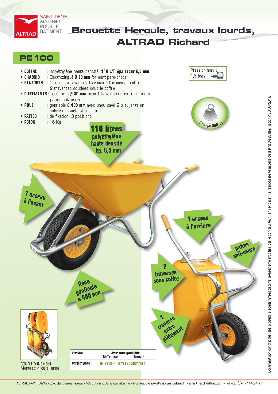 Brouette Hercule jaune ALTRAD - 110 L - APE100P