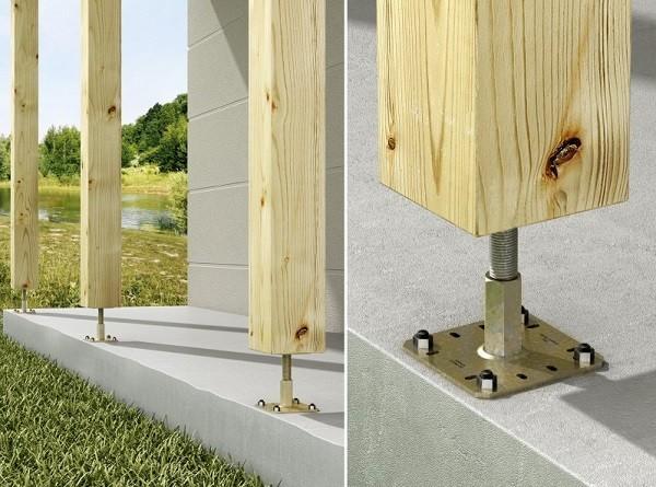 Supports de poteaux r glables simpson equerre et sabot de charpente fixation - Support poteau bois a planter ...