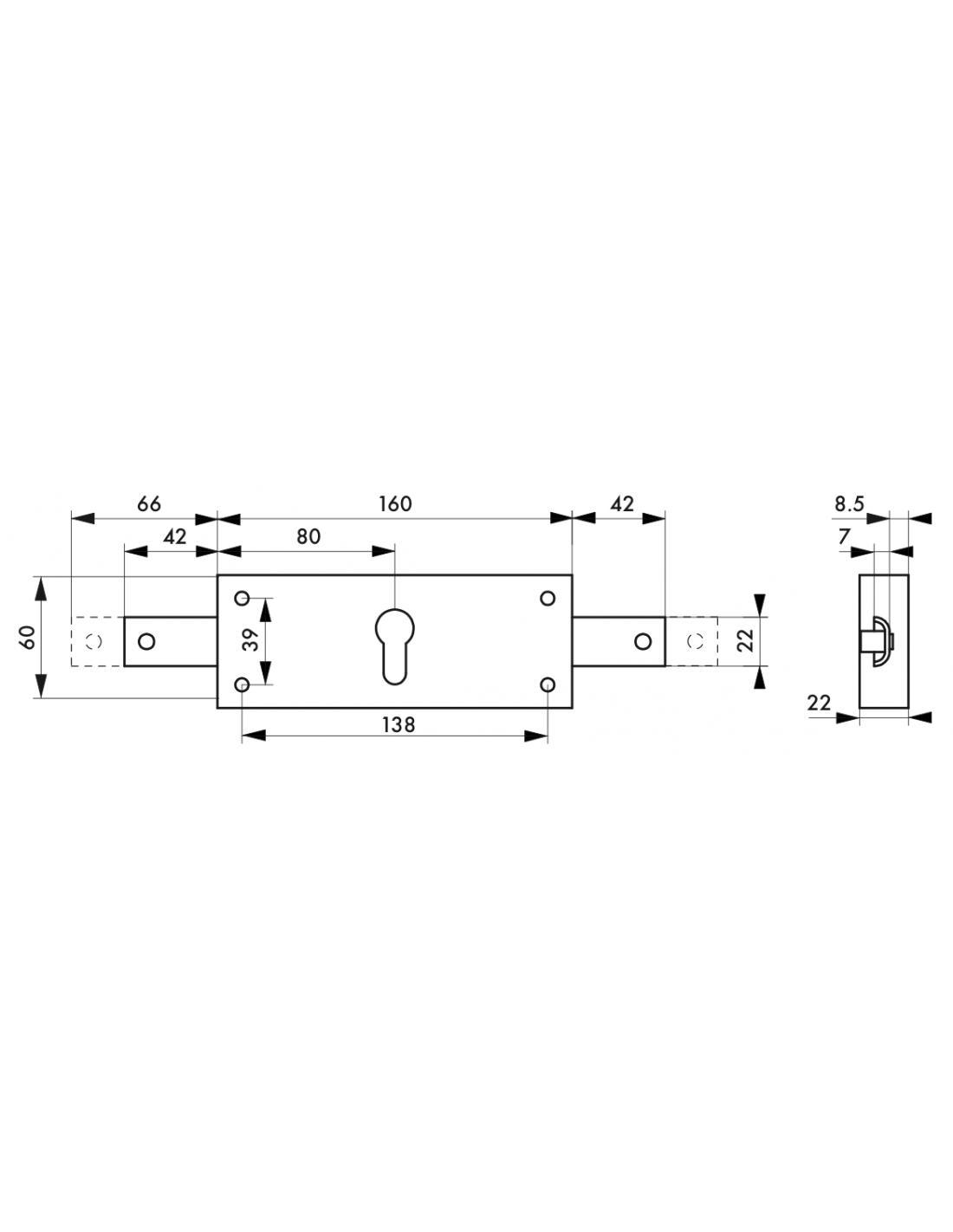Boitier serrure pour rideau métallique 2 points latéraux THIRARD - 091997