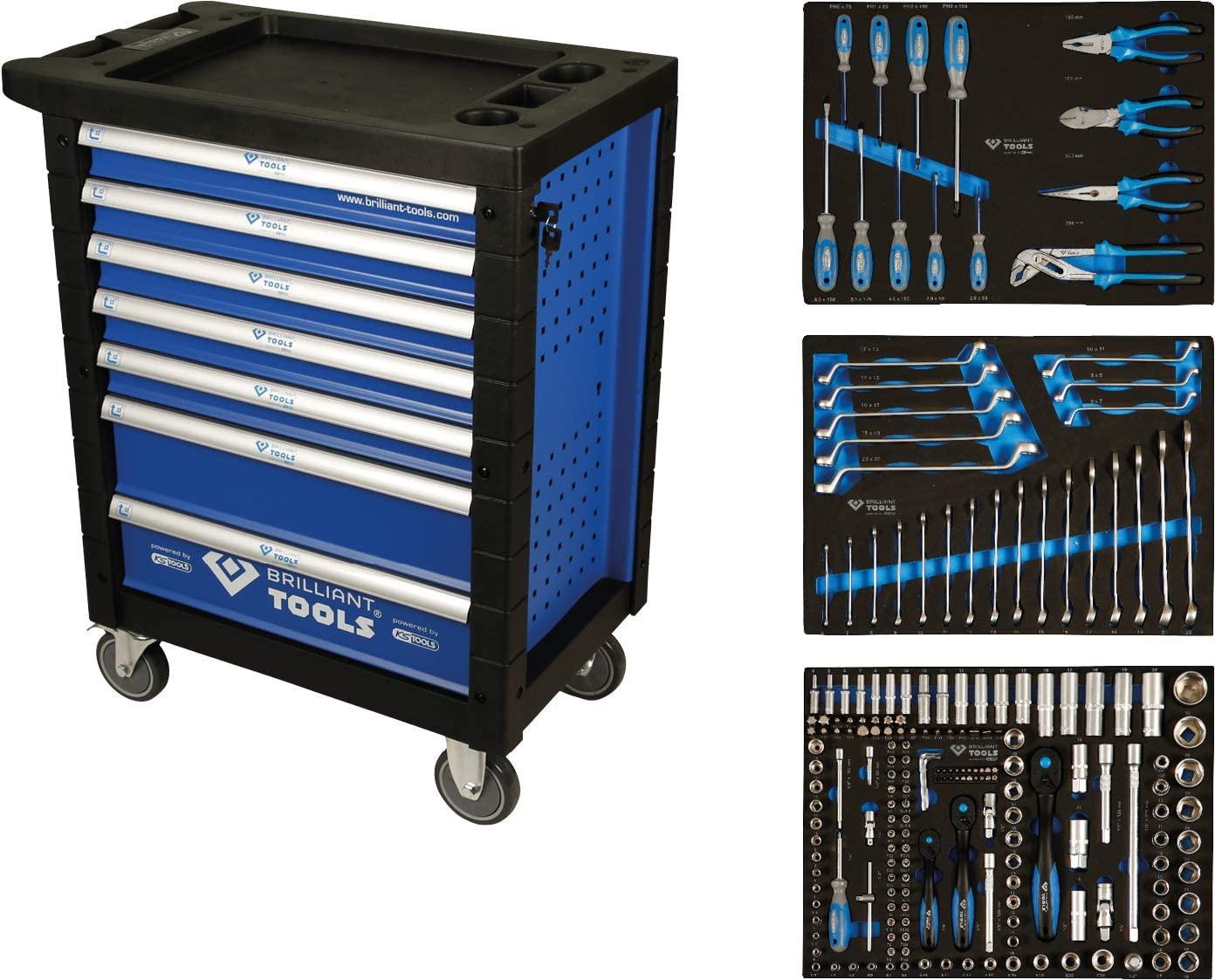 Servante d'atelier 7 tiroirs BRILLIANT TOOLS Composé de 207 outils + Tapis de protection repliable - BT153207