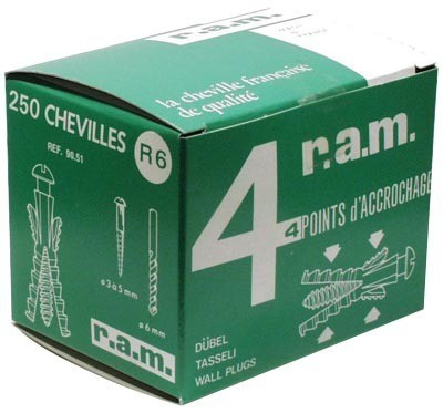 Boîte 250 chevilles sans collerette R5 grise R.A.M SA - Ø5 mm - L.22 mm - 9060