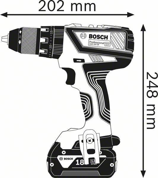 Perceuse visseuse à percussion GSB 18V-28 BOSCH - batterie 2x5.0Ah + Procore 18V 4.0Ah - 0615990K7J