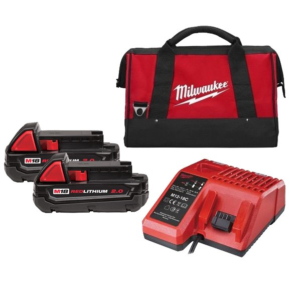 2 Batteries MILWAUKEE 18V 2.0Ah + Chargeur - 4932451037