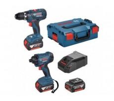 Lot BOSCH Perceuse GSR18V-28 + Visseuse à chocs GDR18V-160 + 3 batteries 4.0Ah - 0615990K3H