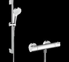 Combi douche HANSGROHE Crometta  Vario avec barre 65 cm / Ecostat 1001 CL blanc/chromé - 27812400
