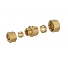 Jonction laiton bicone réduite pour tube cuivre NOYON & THIEBAULT - Ø 14 mm et tube cuivre 12 mm - 415-1412L1