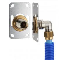 FIXSYSTEM simple : kit complet de fixation d'un robinet mural simple M1/2' (15x21) Coude d'alimentation à compression sur tube PER NOYON & THIEBAULT - Ø 12 mm, sortie femelle 1/2' (15x21) - 3325-12PL1