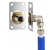 FIXSYSTEM simple : kit complet de fixation d'un robinet mural simple M1/2' (15x21) Coude d'alimentation à compression sur tube multicouche NOYON & THIEBAULT - Ø 16 mm, sortie femelle 1/2' (15x21) - 3345-16PL1