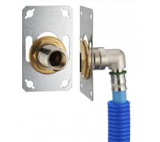 FIXSYSTEM simple : kit complet de fixation d'un robinet mural simple M1/2' (15x21) Coude d'alimentation à sertir profil TH sur tube PER NOYON & THIEBAULT - Ø 122 mm, sortie femelle 1/2' (15x21) - 3327-12PL1