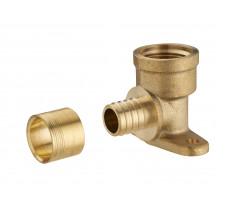 Coude applique à glissement pour tube PER NOYON & THIEBAULT - Ø 16 mm à visser femelle F1/2' (15x21) 2 trous pour fixation au mur Bague en laiton - 3191-1516L1