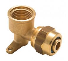 Coude applique à compression pour tube PER NOYON & THIEBAULT - Ø 16 mm à visser femelle F1/2' (15x21) 2 trous pour fixation au mur - P16-81915L1
