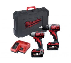 LOT MILWAUKEE 18V 4Ah Li-Ion : Perceuse Visseuse M18 BDD-0 + Visseuse à chocs M18 BID-0 - 4933447126