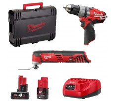 Lot Perceuse-Visseuse et Multi-Tool MILWAUKEE 12V Li-Ion + 1 batterie 4.0Ah, 1 batterie 2.0Ah, chargeur, coffret M12SET2A-421X - 4933448551