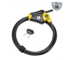 Câble de verrouillage ajustable Python™ MASTERLOCK L 1,8 m x 8 mm de diamètre - Jaune - 8433EURD