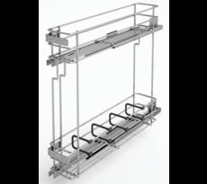 Combiné bas coulissant SIGE - pour meuble 150 mm - Fil chromé - 2 niveaux - 110 x 500 x 520 mm - 002T+SOFT