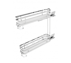 Combiné bas coulissant pour meuble 150 mm SIGE - panier fond blanc - 2 niveaux - 110 x 500 x 520 mm - 002+