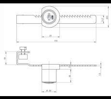 Serrure a cremaillere p/porte coulis.verre basico(2 clefs+ros.) f513915.001ni