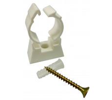Collier simple en plastique pour fixation de tube multicouche nu NOYON & THIEBAULT - Vis de fixation et cheville fournies - 84