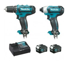 Ensemble de 2 machines MAKITA  10,8 V Li-Ion 4.0Ah CXT - Perceuse DF331D + Visseuse à chocs TD110D - CLX201SMJ