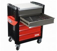 Composition de 250 outils SAM avec servante 6 tiroirs SERVI-630N avec modules mousse - CPP-250M4Z