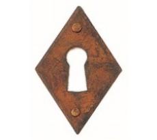 Entrée de meuble losange BRIONNE - 30 x 45 mm - Fer rouillé ciré - Entrée de clé - 2012511RO