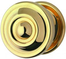 Bouton moulure N°146 Ø80 mm DEVISMES pour montage chaînette - Laiton poli - 146C80