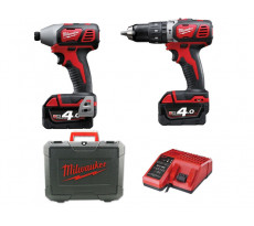 Lot 2 machines MILWAUKEE M18BPP2C-402C 18V 4.0Ah - Perceuse à percussion + Visseuse à chocs - 4933443552