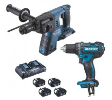Lot 2 machines MAKITA Perforateur DHR264 + Perceuse visseuse DDF456 + 4 Batteries 18V 4.0Ah - DLX2138PTJ