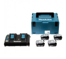 Pack 4 Batteries 5Ah + Chargeur double MAKITA + coffet Makpac - 197626-8