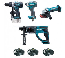 Ensemble de 4 machines MAKITA - 3 Batteries 18V Li-Ion 4.0 -  Perceuse DDF458 + Meuleuse DTD152 + Perfo DHR202 + Visseuse DGA452 - DLX4054MX1
