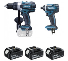 Ensemble de 2 machines MAKITA 18V Perceuse DDF458 + Visseuse à chocs DTD152 + 3 batteries, chargeur, coffret - DLX2144TJ1