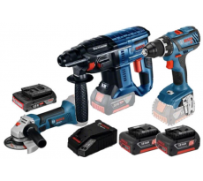 Kit 3 outils BOSCH : Perceuse-visseuse GSR + Meuleuse GWS + Perforateur GBH + 1 batterie 18V 3Ah + Chargeur - 0615990K6M