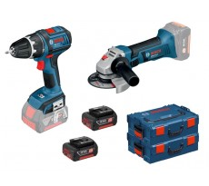 Kit Perceuse Visseuse sans fil GSR 18 V-LI + Meuleuse angulaire GWS 18-125 V-Li + 2 batteries - BOSCH