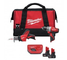 LOT MILWAUKEE : Perceuse visseuse 12V C12DD/0 + Scie sabre C12HZ + 2 Batteries 3Ah - 4933416530