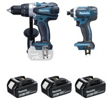 Ensemble de 2 machines MAKITA Perceuse DDF458 + Visseuse à chocs DTD152 + 3 batteries, chargeur, coffret - DLX2144TJ1