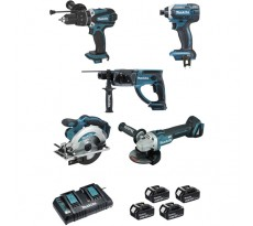 Ensemble de 5 machines MAKITA 18V Li-Ion 5.0 Ah - Perfo-burineur + Visseuse + Perceuse à percussion + Meuleuse + Scie circulaire - DLX5039PTJ