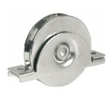 Roue Ø100 mmm à gorge ronde Ø16 mm AVL - support à encastrer - charge 300 kg - 918100B