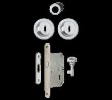 Set 3 pour porte coulissante HOPPE 4920 - serrure axe 50 mm - 3947