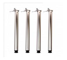 Jeu de 4 pieds de table chromé - Hauteur 710 mm Ø 60 mm - 776